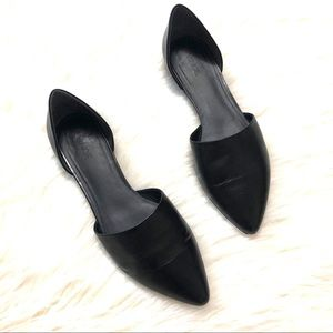 Vince black leather pointy toe flats